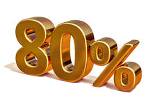 ouro 3d sinal de um disconto de 80 oitenta por cento Fotos de Stock