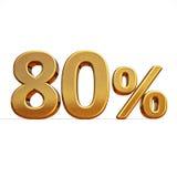 ouro 3d sinal de um disconto de 80 oitenta por cento Imagens de Stock