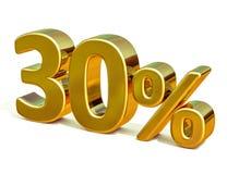 ouro 3d sinal de um disconto de 30 por cento Foto de Stock Royalty Free