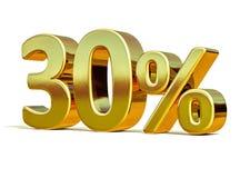 ouro 3d sinal de um disconto de 30 por cento Fotos de Stock Royalty Free