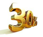 ouro 3d sinal de um disconto de 30 por cento Fotografia de Stock Royalty Free