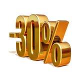 ouro 3d sinal de um disconto de 30 por cento Imagens de Stock Royalty Free