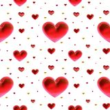 Ouro da decoração dos corações do amor e multicolorido vermelho Relacionamento feliz romântico da alegria Conceito do teste padrã Imagens de Stock