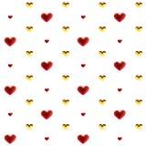 Ouro da decoração dos corações do amor e multicolorido vermelho Relacionamento feliz romântico da alegria Conceito do teste padrã ilustração stock