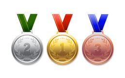 Ouro da medalha, prata, bronze, para realizações ostentando em um fundo branco ilustração stock