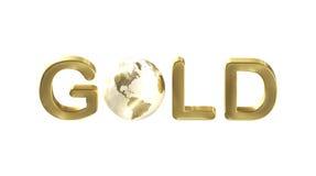 Ouro da palavra com uma terra do planeta como a letra Imagem de Stock