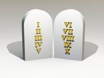 Ouro de 10 mandamentos na tabuleta de pedra ilustração do vetor