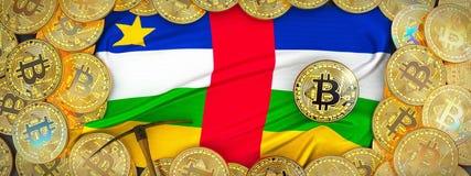 Ouro de Bitcoins em torno da bandeira da África Central e picareta no le ilustração royalty free