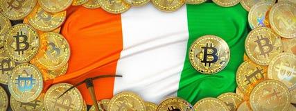 Ouro de Bitcoins em torno da bandeira da Costa do Marfim e picareta à esquerda 3 ilustração stock