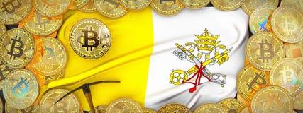 Ouro de Bitcoins em torno da bandeira e picareta à esquerda illustrati 3d imagem de stock royalty free