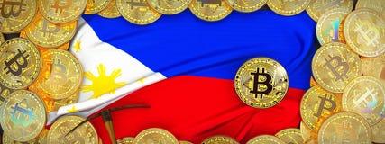 Ouro de Bitcoins em torno da bandeira de Filipinas e picareta à esquerda 3 foto de stock
