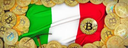 Ouro de Bitcoins em torno da bandeira de Itália e picareta à esquerda illu 3d ilustração stock