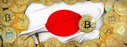 Ouro de Bitcoins em torno da bandeira de Japão e picareta à esquerda illu 3d ilustração royalty free