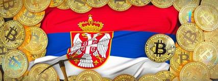 Ouro de Bitcoins em torno da bandeira da Sérvia e picareta à esquerda mal 3d fotos de stock royalty free