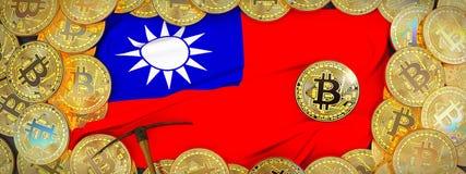 Ouro de Bitcoins em torno da bandeira de Taiwan e picareta à esquerda mal 3d foto de stock