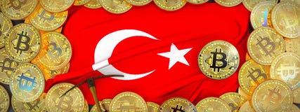 Ouro de Bitcoins em torno da bandeira de Turquia e picareta à esquerda mal 3d imagens de stock royalty free