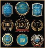 Ouro do aniversário e coleção das etiquetas do azul, 100 anos Fotos de Stock Royalty Free