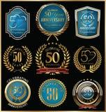 Ouro do aniversário e coleção das etiquetas do azul, 50 anos Foto de Stock