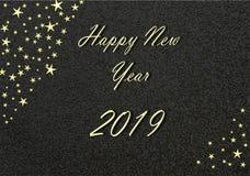 Ouro 2019 do ano novo feliz com fundo e as estrelas pretos ilustração stock