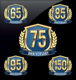 Ouro do crachá do aniversário e azul 65th, 75th, 85th, 95th, 150th anos Fotos de Stock