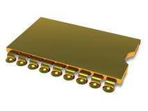 Ouro do microchip do computador Imagens de Stock Royalty Free