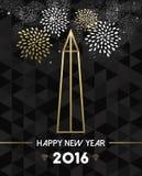 Ouro 2016 do monumento do curso de Washington EUA do ano novo Foto de Stock Royalty Free