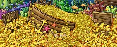 Ouro do tesouro e pintura subaquática dos animais ilustração do vetor