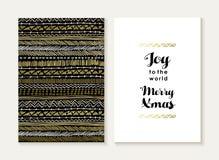 Ouro do teste padrão do grupo de cartão da alegria do Feliz Natal tribal Imagens de Stock