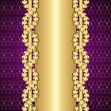 Ouro do vintage e fundo roxo com folhas do louro ilustração royalty free