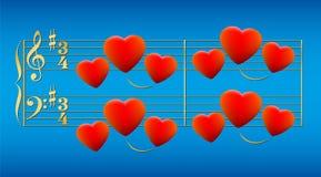 Ouro dos corações da música de amor Foto de Stock