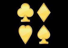 Ouro dourado do ícone do pôquer Imagem de Stock