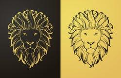 Ouro e ícone preto do leão Imagens de Stock