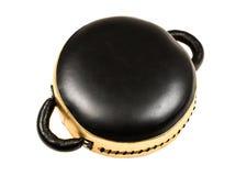 Ouro e almofada de perfuração, luva ou saco do encaixotamento de couro preto Imagens de Stock