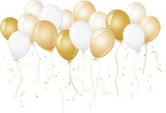 Ouro e balões brancos Foto de Stock