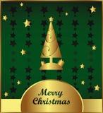 Ouro e cartão de Natal verde Foto de Stock