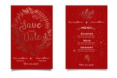 Ouro e cartão vermelho do invitain com cópia floral Lista do menu Fotos de Stock