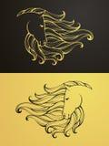 Ouro e cavalo preto Fotografia de Stock Royalty Free