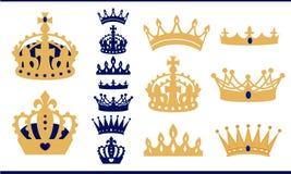 Ouro e coroas azuis da marinha ajustados Coleção da coroa do príncipe e do rei Silhueta isolada do vintage Fotografia de Stock