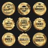 Ouro e crachá luxuoso brilhante do preto Grupo do luxo Fotos de Stock
