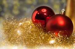 Ouro e decoração vermelha do Natal Foto de Stock Royalty Free