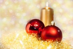 Ouro e decoração vermelha do Natal Fotografia de Stock Royalty Free