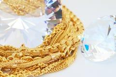 Ouro e diamante Fotos de Stock Royalty Free