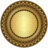 Ouro e frame redondo do marrom Fotos de Stock Royalty Free