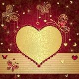 Ouro e frame vermelho do Valentim Fotografia de Stock Royalty Free