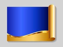 Ouro e fundo abstrato azul ilustração do vetor