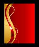 Ouro e fundo abstrato vermelho Ilustração Stock