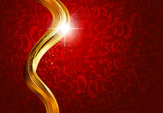 Ouro e fundo abstrato vermelho ilustração royalty free