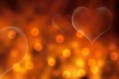 Ouro e fundo alaranjado do dia de Valentim Fotos de Stock Royalty Free