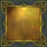 Ouro e fundo azul com frame do projeto Fotos de Stock Royalty Free