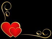 Ouro e fundo preto do amor ilustração do vetor